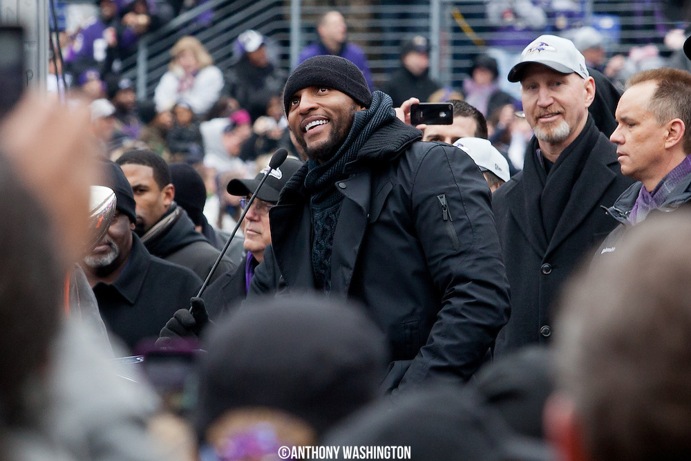 Baltimore Ravens linebacker Ray Lewis addresses the capacity crowd during the teams Super Bowl XLVII Celebration at M&T Bank Stadium on Tuesday, February 5, 2013 in Baltimore, MD.