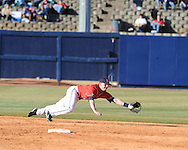 Ole Miss shortstop Kevin Mort fields the ball vs. Louisiana-Monroe at Oxford-University Stadium in Oxford, Miss. on Friday, February 19, 2010.