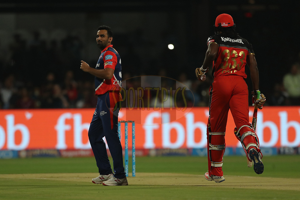 Delhi Daredevil captain Zaheer Khan reacts after a delivery during match 5 of the Vivo 2017 Indian Premier League between the Royal Challengers Bangalore and the Delhi Daredevils held at the M.Chinnaswamy Stadium in Bangalore, India on the 8th April 2017<br /> <br /> Photo by Ron Gaunt - IPL - Sportzpics