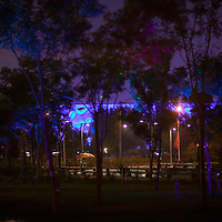 BEIJING, AUGUST 5 :the illuminated Aqua Centre  is seen during  dress rehearsals for the Olympics .