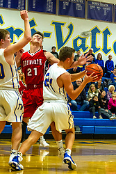 13 December 2019: Boys Basketball game between the Heyworth Hornets and the Tri Valley Vikings in Tri Valley High School, Downs IL