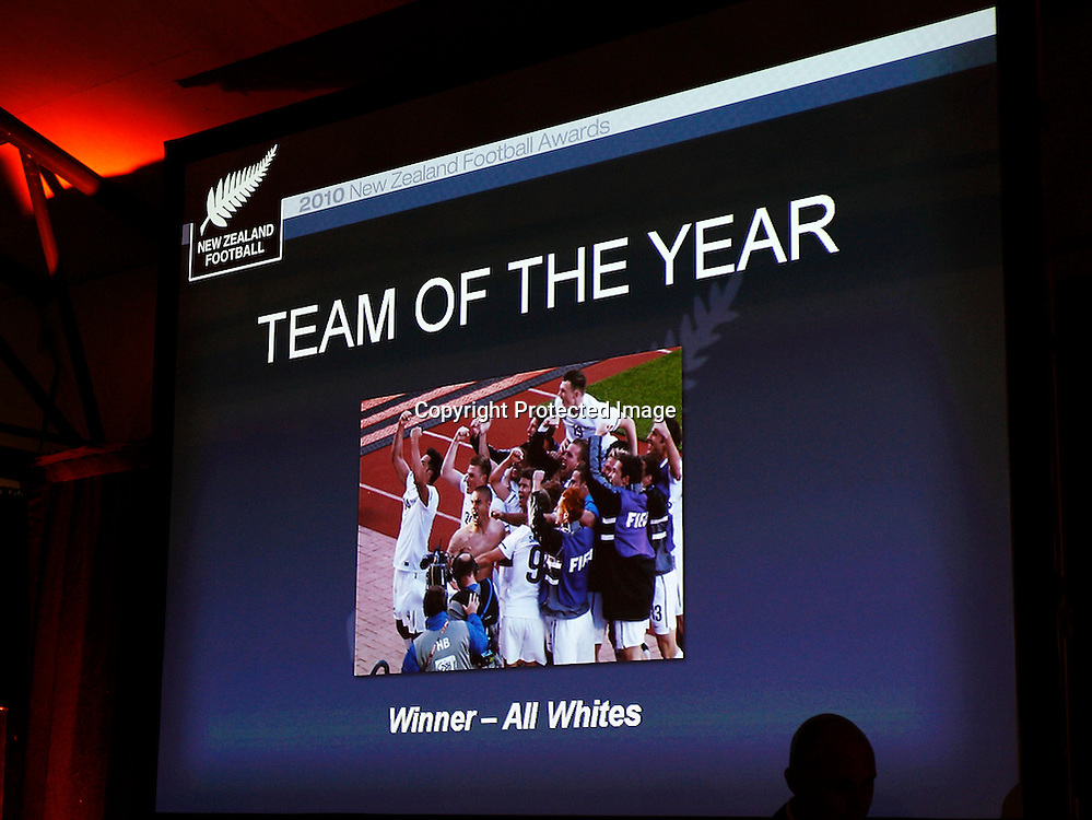 Team of the Year went to the All Whites. 2010 New Zealand Football Awards, Auckland Maritime Museum Auckland, Friday 28th May 2011. Photo: Shane Wenzlick