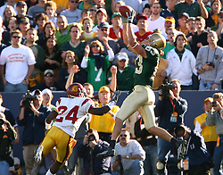 Oct. 15, 2005; South Bend, IN, USA; Notre Dame wide receiver Jeff Samardzija catches a Brady Quinn pass for a touchdown in front of USC's Justin Wyatt in the second quarter of Notre Dame's game against USC Saturday Oct. 15 at Notre Dame Stadium. Mandatory Credit: Photo By Matt Cashore-US PRESSWIRE Copyright (c) 2005 Matt Cashore