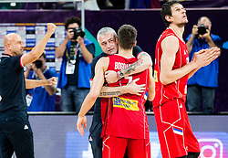 Predrag Danilovic of Serbia  and Bogdan Bogdanovic of Serbia celebrate after winning during basketball match between National Teams of Russia and Serbia at Day 16 in Semifinal of the FIBA EuroBasket 2017 at Sinan Erdem Dome in Istanbul, Turkey on September 15, 2017. Photo by Vid Ponikvar / Sportida