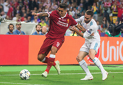 Roberto Firmino of Liverpool vs Dani Carvajal of Real  during the UEFA Champions League final football match between Liverpool and Real Madrid at the Olympic Stadium in Kiev, Ukraine on May 26, 2018.Photo by Sandi Fiser / Sportida