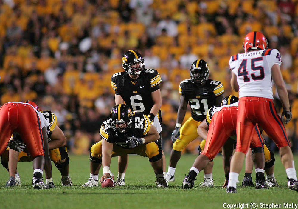 08 SEPTEMBER 2007: Iowa quarterback Jake Christensen (6) lines up under Iowa center Rafael Eubanks (52) in Iowa's 35-0 win over Syracuse at Kinnick Stadium in Iowa City, Iowa on September 8, 2007.