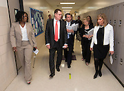 Houston ISD superintendent Dr. Terry Grier, center, and members of the Broad Foundation research team tour Ortiz Middle School, May 29, 2013.