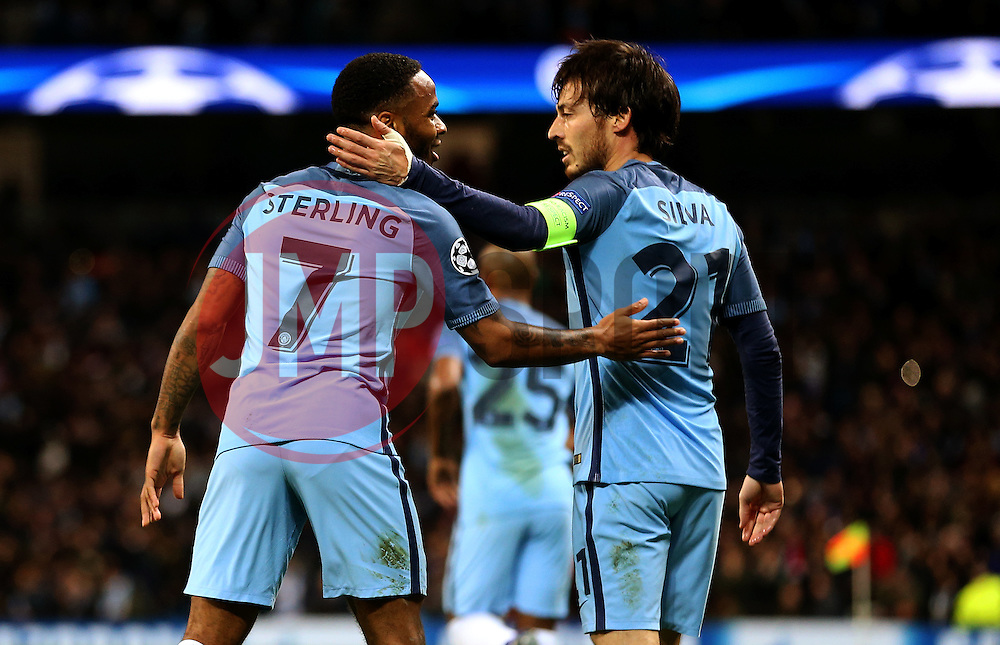 Raheem Sterling of Manchester City celebrates with David Silva after the first goal - Mandatory by-line: Matt McNulty/JMP - 21/02/2017 - FOOTBALL - Etihad Stadium - Manchester, England - Manchester City v AS Monaco - UEFA Champions League - Round of 16 First Leg