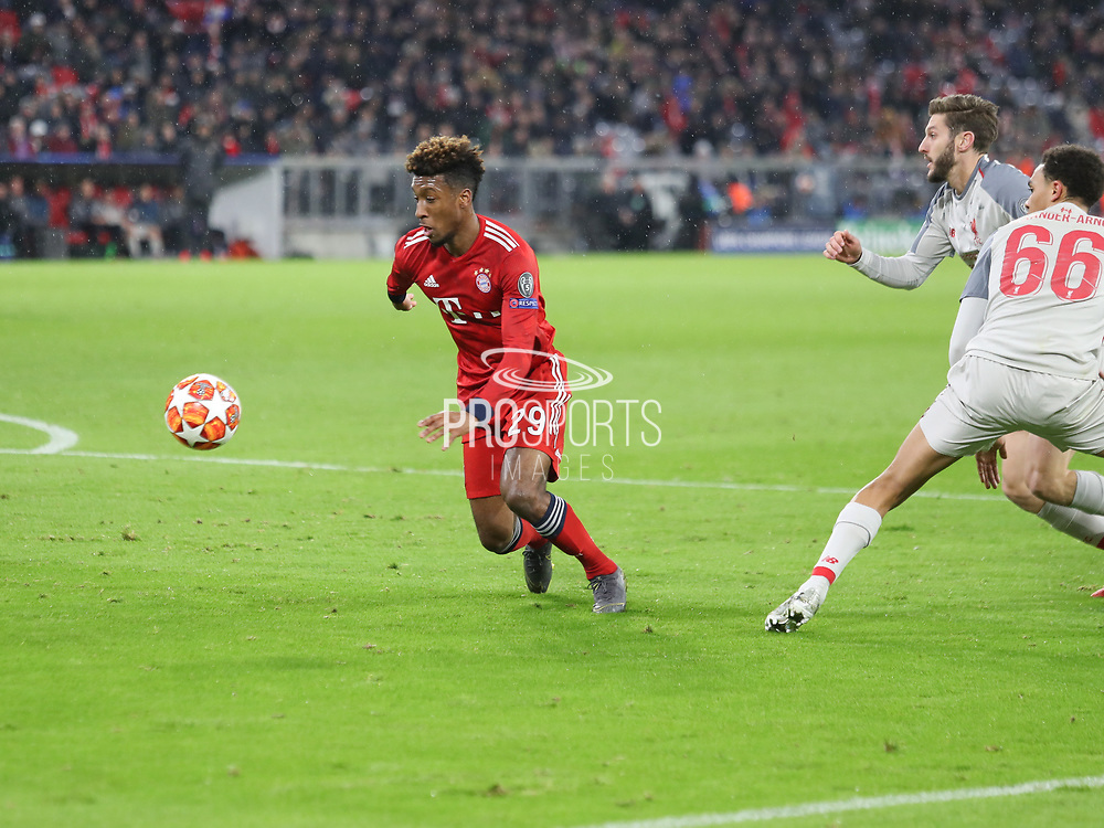 Kingsley Coman of Bayern Munich during the Champions League round of 16, leg 2 of 2 match between Bayern Munich and Liverpool at the Allianz Arena stadium, Munich, Germany on 13 March 2019.