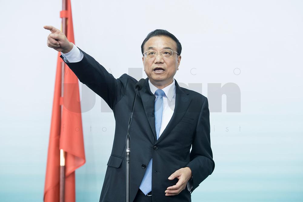 10 JUL 2018, BERLIN/GERMANY:<br /> Li Keqiang, Ministerpraesident der VR China, waehrend einem Statement nach einer Praesentation zum autonomen Fahren mit deutschen Autoherstellern, Flughafen Tempelhof<br /> IMAGE: 20180710-01-116