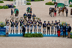 Team podium, Team GBR, French Piggy, McEwen Tom, Canter Rosalind, Team IRL, Watson Sam, McCarthy Padraig, Ennis Sarah, Team FRA, Livio Maxime, Vallette Thibault, Dufresne Sidney<br /> World Equestrian Games - Tryon 2018<br /> © Hippo Foto - Dirk Caremans<br /> 17/09/2018