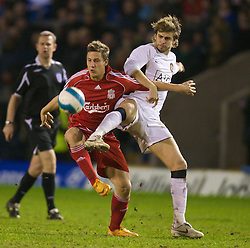WARRINGTON, ENGLAND - Tuesday, February 26, 2008: Liverpool's Krisztian Nemeth and Manchester United's Gerard Pique during the FA Premiership Reserves League (Northern Division) match at the Halliwell Jones Stadium. (Photo by David Rawcliffe/Propaganda)