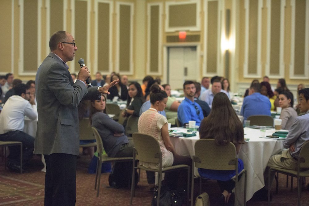 Director Tim Reynolds of the Walter Center for Strategic Leadership answers questions during a lecture by Dr. Jason Stoner, Associate Professor in the Ohio University College of Business, (not pictured) at the Ohio MBA Leadership Development Workshop in the Baker Center ballroom on Saturday, August 27, 2016.