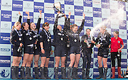 London, Great Britain, Oxford celebrate winning the The Newton Women's Boat Race, Men's Race , Championship Course.  River Thames. Putney to Mortlake. ENGLAND. <br /> <br /> 17:26:54  Saturday  11/04/2015<br /> <br /> [Mandatory Credit; Peter Spurrier/Intersport-images]<br /> <br /> OUWBC Crew: <br /> Maxie SCHESKE, Anastasia CHITTY, Shelley PEARSON, Lauren KEDAR, Maddy BADCOTT, Emily REYNOLDS, Nadine GRAEDEL IBERG, Caryn DAVIES and Cox Jennifer EHR
