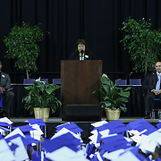 Miss Evette Santiago, board of education president gives remarks to students, family and friends comprised of 186 students during Howard High School of Technology 146th commencement exercises Thursday, June 04, 2015, at The Bob Carpenter Sports Convocation Center in Newark, Delaware.