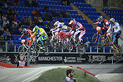 First Jump - Riders Make Air, Elite Women's FinalBMX World Cup Finals at  at the Manchester Arena, Manchester, United Kingdom on 19 April 2015. Photo by Charlotte Graham.