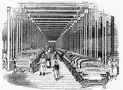 Weaving shed fitted rows with power looms driven by belt and shafting. Wood engraving c1840