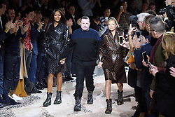 Naomi Campbell, desginer Kim Jones and Kate Moss walk the runway at the Louis Vuitton Homme show during Paris Men's Fashion Week Fall/Winter 2018-2019 on January 18, 2018 in Paris, France. Photo by Aurore Marechal/ABACAPRESS.COM    622177_023 Paris France