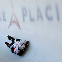 28 February 2007:  Markus Penz of Austria in turn 18 the 3rd run at the Men's Skeleton World Championships competition on February 28 at the Olympic Sports Complex in Lake Placid, NY.