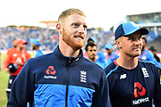 Ben Stokes of England walks off the field with Jason Roy of England after England beat India during the International T20 match between England and India at the SWALEC Stadium, Cardiff, United Kingdom on 6 July 2018. Picture by Graham Hunt.