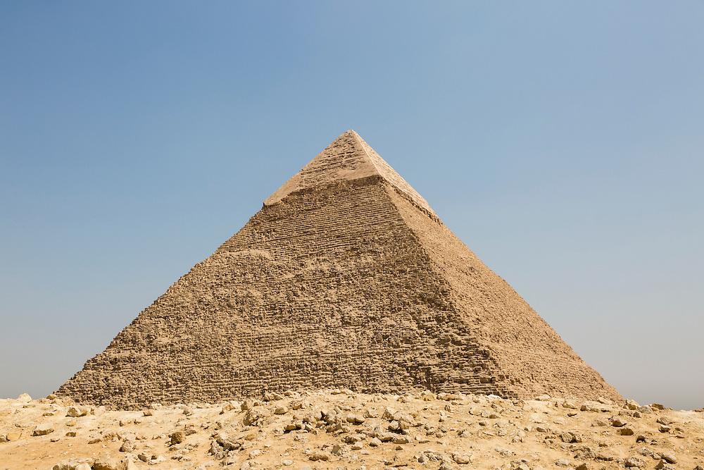 Egypt, Cairo, Midday sun lights Great Pyramid of Giza in Sahara Desert