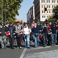 "Rome, Italy  !5th October During today ""Occupy"" protes hundreds of hooded, masked demonstrators rampaged in some of the worst violence seen in the Italian capital in years, setting cars ablaze, breaking bank and shop windows and destroying traffic lights and signposts. ..HOW TO LICENCE THIS PICTURE: please contact us via e-mail at sales@xianpix.com or call our offices in Milan at (+39) 02 400 47313 or London   +44 (0)207 1939846 for prices and terms of copyright. First Use Only ,Editorial Use Only, All repros payable, No Archiving.© MARCO SECCHI"