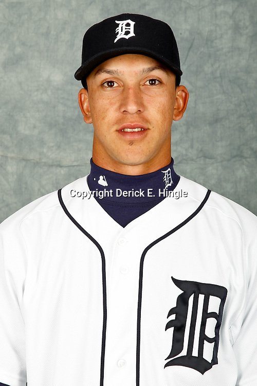 February 28, 2012; Lakeland, FL, USA; Detroit Tigers shortstop Hernan Perez (52) poses for photo day in the rec room at the Detroit Tigers Headquarters.  Mandatory Credit: Derick E. Hingle-US PRESSWIRE