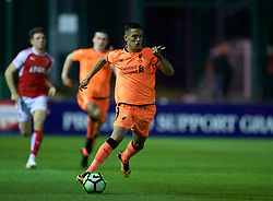 LEYLAND, ENGLAND - Friday, September 1, 2017: Liverpool's Yan Dhanda during the Lancashire Senior Cup Final match between Fleetwood Town and Liverpool Under-23's at the County Ground. (Pic by Propaganda)