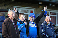 Lowestoft Town fans before the Conference North match between Brackley Town and Lowestoft Town at St. James Park, Brackley<br /> Picture by David Horn/Focus Images Ltd +44 7545 970036<br /> 24/01/2015