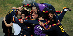 Andres Iniesta celebrates with his team mates after scoring the winning goal during extra time in  the 2010 FIFA World Cup South Africa  Final match between Holland and Spain at Soccer City  on 11 July, 2010 in Johannesburg, South Africa.