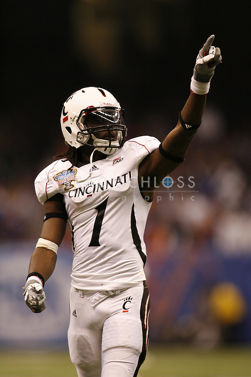 01 JAN 2010:  Cincinnati wide receiver Mardy Gilyard during the Bearcats 51-24 loss to the Florida Gators in the 2010 Allstate Sugar Bowl at the Louisiana Superdome in New Orleans, LA.