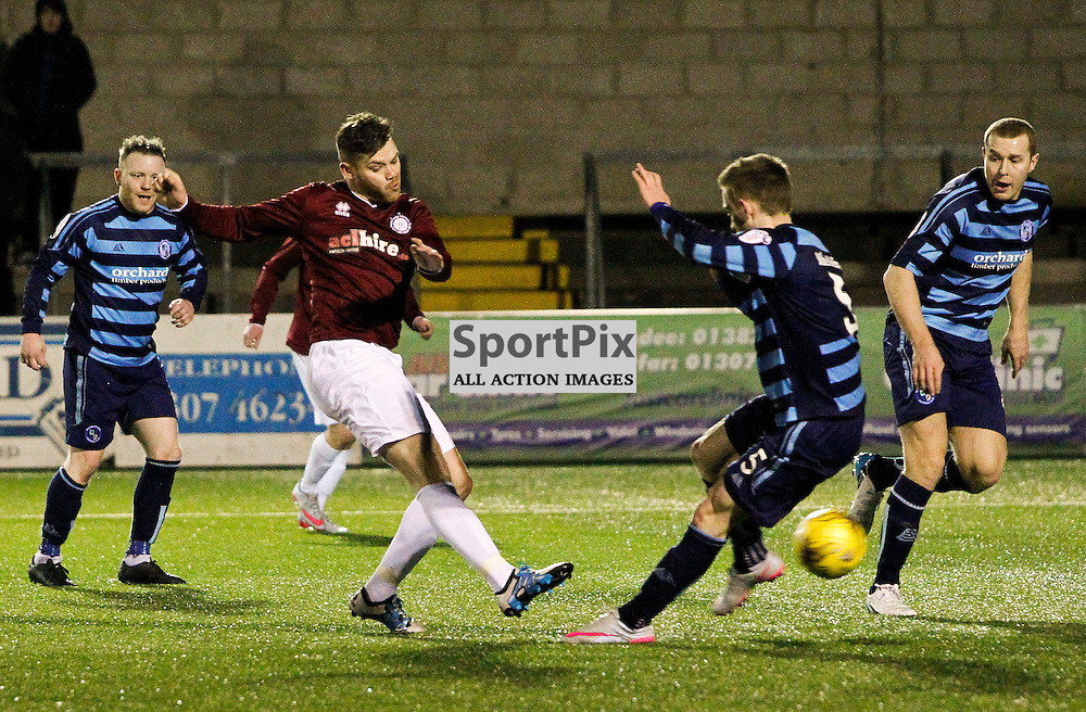 Kevin Kelbie fires home from the edge of the box to score the winning goal and and make history sending juniors  Linlithgow Rose into the Scottish Cup 5th round During the William Hill Scottish Cup replay at Station Park Forfar<br /> (c) Andrew West | SportPix.org.uk