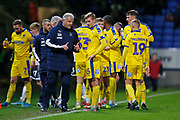 Glynn Hodges First Team Manager of Wimbledon talking to Marcus Forss of Wimbledon  during the EFL Sky Bet League 1 match between Bolton Wanderers and AFC Wimbledon at the University of  Bolton Stadium, Bolton, England on 7 December 2019.