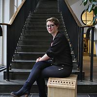 Nederland, Amsterdam , 20 januari 2015.<br /> Claire Hornn en haar ontwerp van de z.g. wormencompostbak.<br /> Studio Claire Hornn is a fresh and young design studio which focus on co-creation and sustainability.<br /> Foto:Jean-Pierre Jans