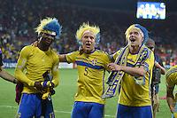 FUSSBALL: UEFA  U21-EUROPAMEISTERSCHAFT  2015  FINALE Schweden - Portugal     30.06.2015  Schweden ist Europameister: Joseph Baffo, Ludwig Augustinsson und John Guidetti (v.l., alle Schweden)  bejubeln den Sieg ueber Portugal