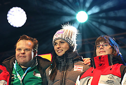 10.01.2016, Schladming, AUT, Special Olympics Pre-Games in Graz-Schladming-Ramsau, Eröffnungsfeier im WM-Park Planai, im Bild Anna Fenninger mit Athleten // Anna Fenninger of Austria and athletes during the opening ceremony of the Special Olympics Pre-Games in Schladming, Austria on 2016/01/10. EXPA Pictures © 2016, PhotoCredit: EXPA / Martin Huber