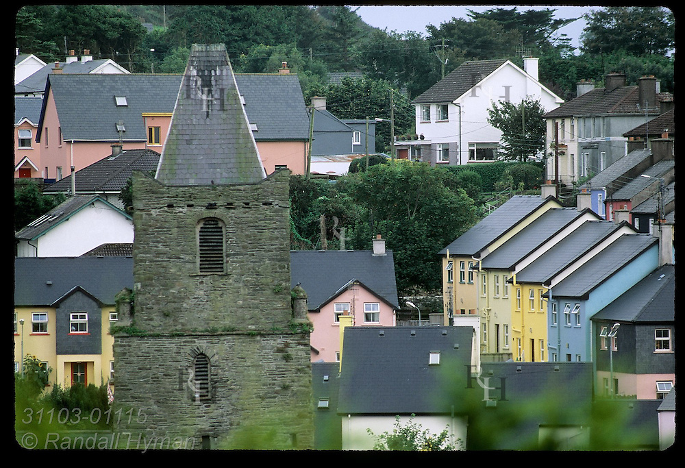 Rows of roofs fill view from hill above town of Kinsale, County Cork, Ireland.