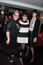 Left to right, KATE HALFPENNY, GIZZI ERSKINE and ERIN O'CONNOR co-fonders of She Died of Beauty at the launch of 'She Died of Beauty' as part of London Fashion Week Autumn/Winter 2012 held at The Club at The Ivy Club, London on 17th February 2012.