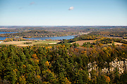 Aerial view of Gibraltar Rock State Natural Area, near Lodi, Wisconsin; the Wisconsin River/Lake Wisconsin is in the distance.