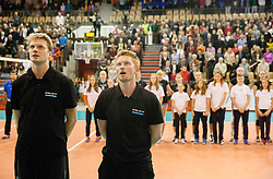Gasper Ribic, head coach of Calcit Volleyball and hiss assistant Aljosa Jemec during match between OK Nova KBM Branik and OK Calcit Volleyball in Finals of Slovenian Women Volleyball Cup 2013/14 on December 27, 2013 in Hoce, Slovenia.  Photo by Vid Ponikvar / Sportida