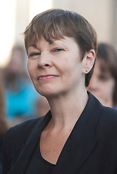 © Licensed to London News Pictures. 29/06/2015. London, UK. Caroline Lucas MP gives a speech in a campaign against austerity organized by Solidarity with Greece at Trafalgar Square, central London, as they call for the Greek debt to be wiped. Photo credit: LNP
