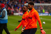 Rangers Pair Jermain Defoe & Wesley Foderingham during the Betfred Scottish League Cup semi-final match between Rangers and Heart of Midlothian at Hampden Park, Glasgow, United Kingdom on 3 November 2019.