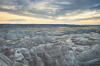 Predawn at Big Badlands Overlook. Badlands National Park South Dakota