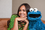 Jeessica Mauboy with Cookie Monster at the Four Seasons Hotel ,Sydney
