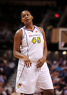 Aug 20, 2010; Phoenix, AZ, USA; Phoenix Mercury forward Kara Braxton (45) reacts on the court against the Seattle Storm at US Airways Center. The Storm defeated the Mercury 78-73.  Mandatory Credit: Jennifer Stewart-US PRESSWIRE