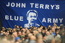 LONDON, ENGLAND - Sunday, February 7, 2010: A John Terry banner on display before the Premiership match at Stamford Bridge. (Photo by Chris Brunskill/Propaganda)