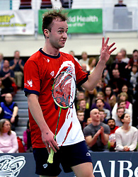 Alex Lane of Bristol Jets celebrates winning a point in his singles match against the Surrey Smashers - Photo mandatory by-line: Robbie Stephenson/JMP - 06/02/2017 - BADMINTON - SGS Wise Arena - Bristol, England - Bristol Jets v Surrey Smashers - AJ Bell National Badminton League
