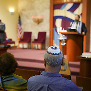 FORT LAUDERDALE, FLORIDA, NOVEMBER 2, 2018<br /> Congregants prior to family Shabbat service at Temple Bat Yam of East Fort Lauderdale. The reform congregation of 220 families was congregating for the first time since the deadly shooting in Pittsburgh on October 27.<br /> (Photo by Angel Valentin/Freelance)