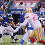 New York Giants quarterback Eli Manning passes to Odell Beckham Jr, during his side loss during the New York Giants V San Francisco 49ers, NFL American Football match at MetLife Stadium, East Rutherford, NJ, USA. 16th November 2014. Photo Tim Clayton