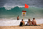Oahu. Body surfing at Sandy Beach.